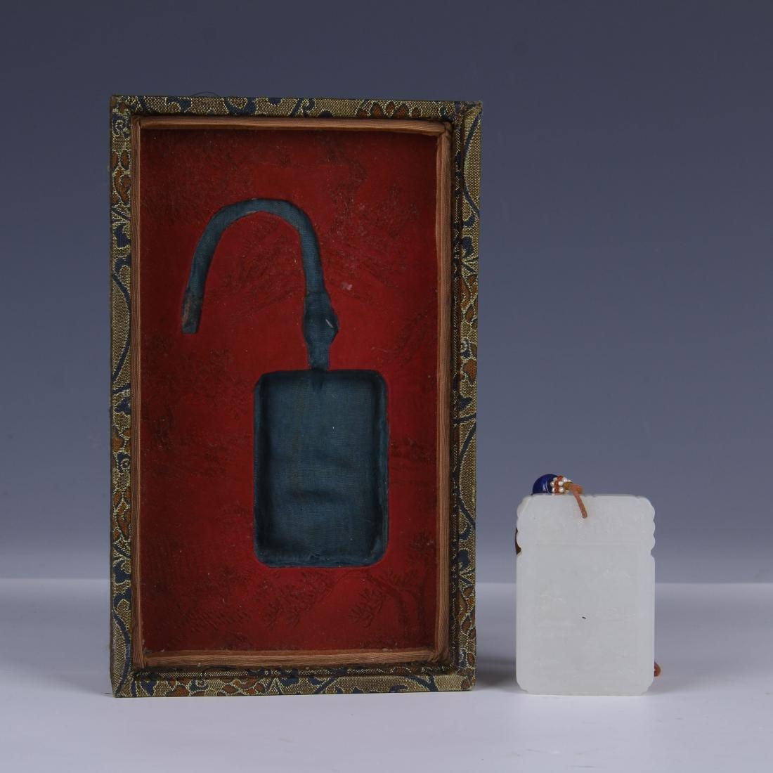 CHINESE CARVED WHITE JADE PENDANT/ BOX