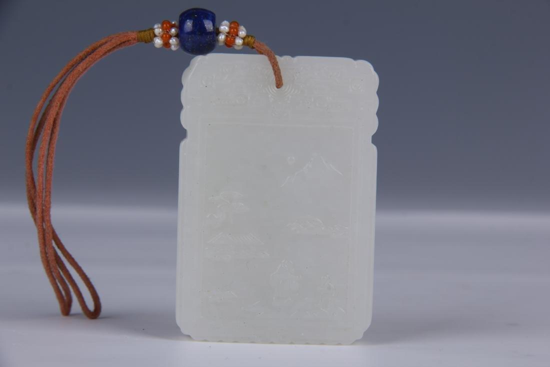 CHINESE CARVED WHITE JADE PENDANT/ BOX - 2