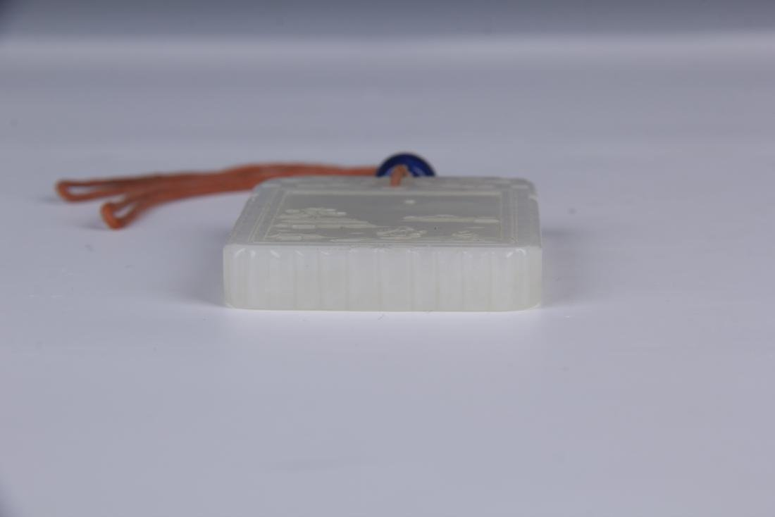 CHINESE CARVED WHITE JADE PENDANT/ BOX - 6