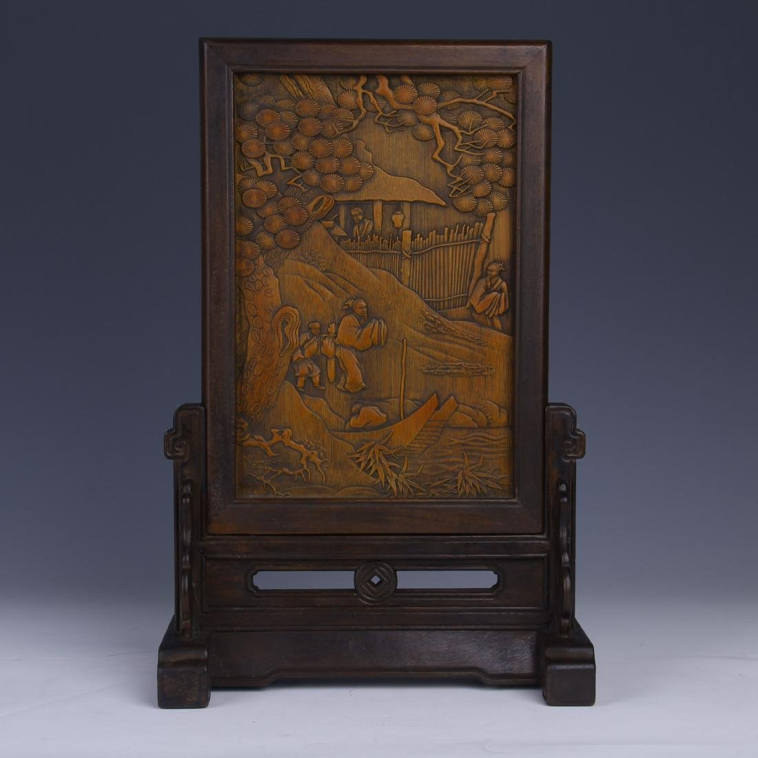 BAMBOO INLAID HUANGYANG WOOD TABLE SCREEN