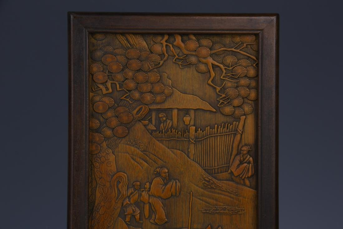BAMBOO INLAID HUANGYANG WOOD TABLE SCREEN - 2