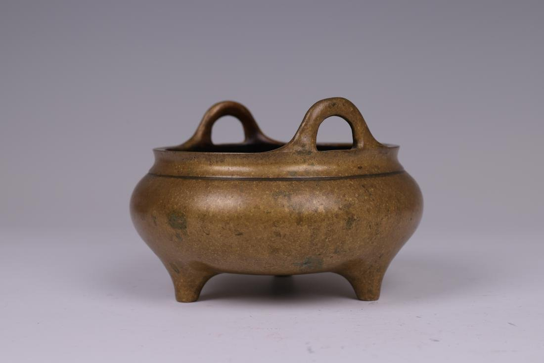 CHINESE BRONZE BINAURAL TRIPOD CENSER - 2