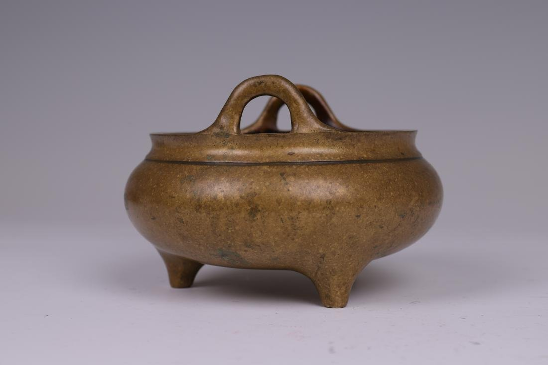 CHINESE BRONZE BINAURAL TRIPOD CENSER - 3