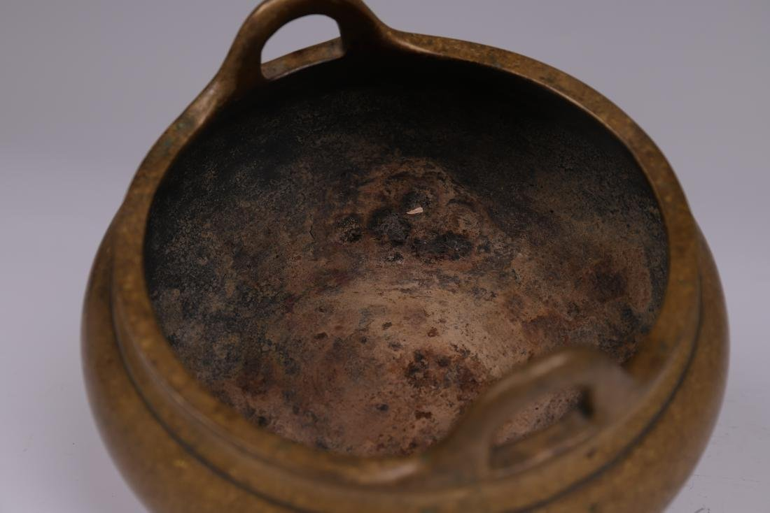 CHINESE BRONZE BINAURAL TRIPOD CENSER - 6