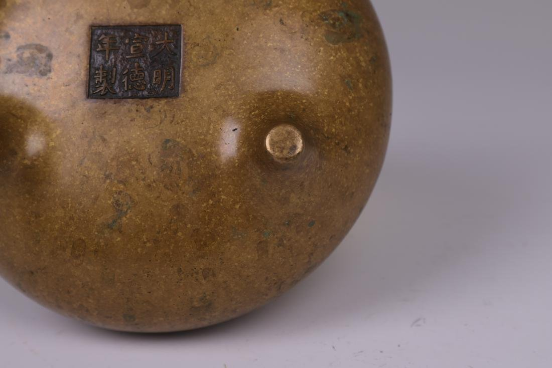 CHINESE BRONZE BINAURAL TRIPOD CENSER - 8