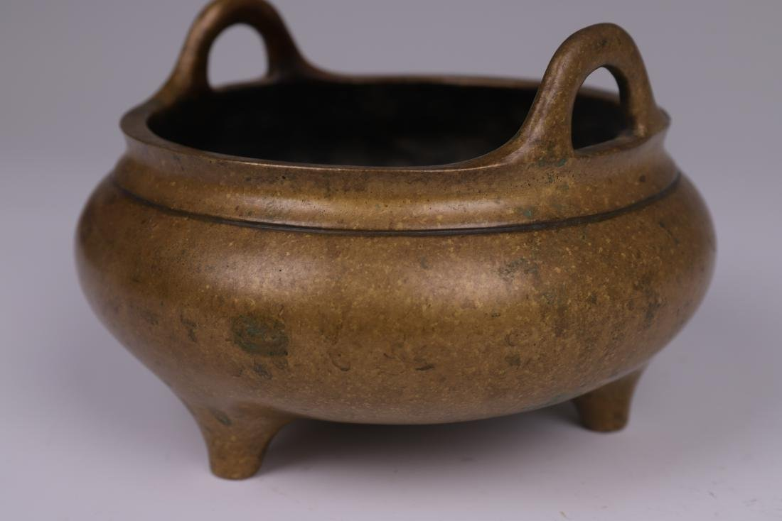 CHINESE BRONZE BINAURAL TRIPOD CENSER - 9