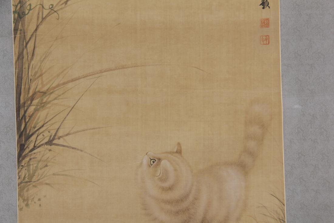 CHINESE PAINTING OF A CAT GAZING AT BUTTERFLIES - 4