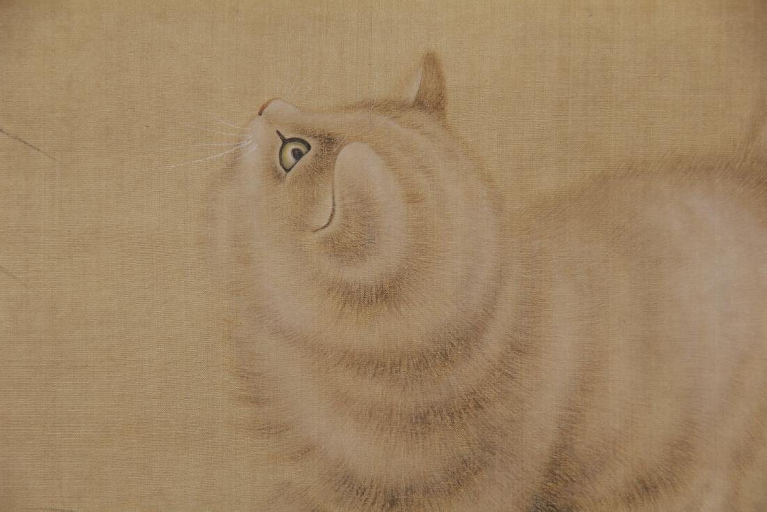 CHINESE PAINTING OF A CAT GAZING AT BUTTERFLIES - 6