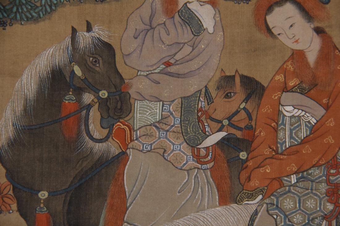 CHINESE PAINTING OF BEAUTIES HORSE RIDING - 10
