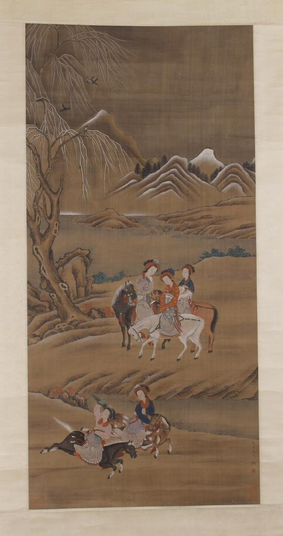 CHINESE PAINTING OF BEAUTIES HORSE RIDING