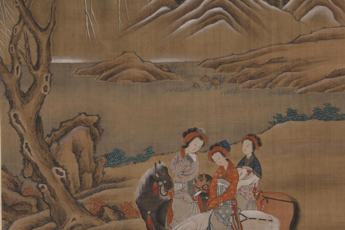 CHINESE PAINTING OF BEAUTIES HORSE RIDING - 3