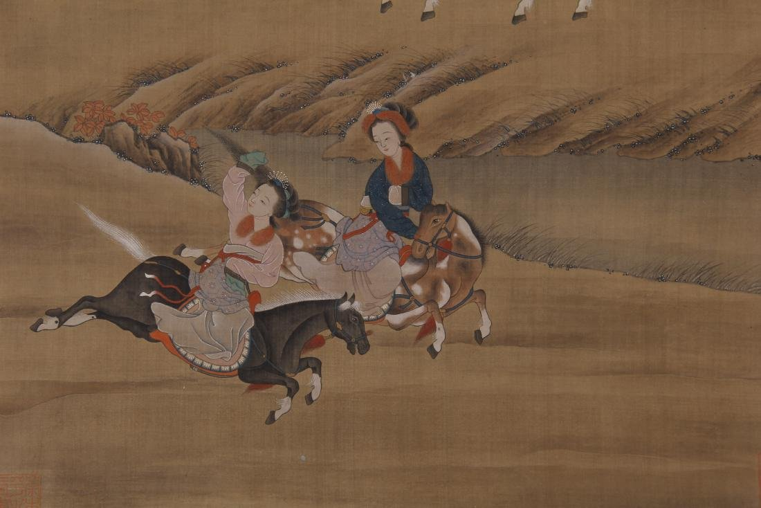 CHINESE PAINTING OF BEAUTIES HORSE RIDING - 4