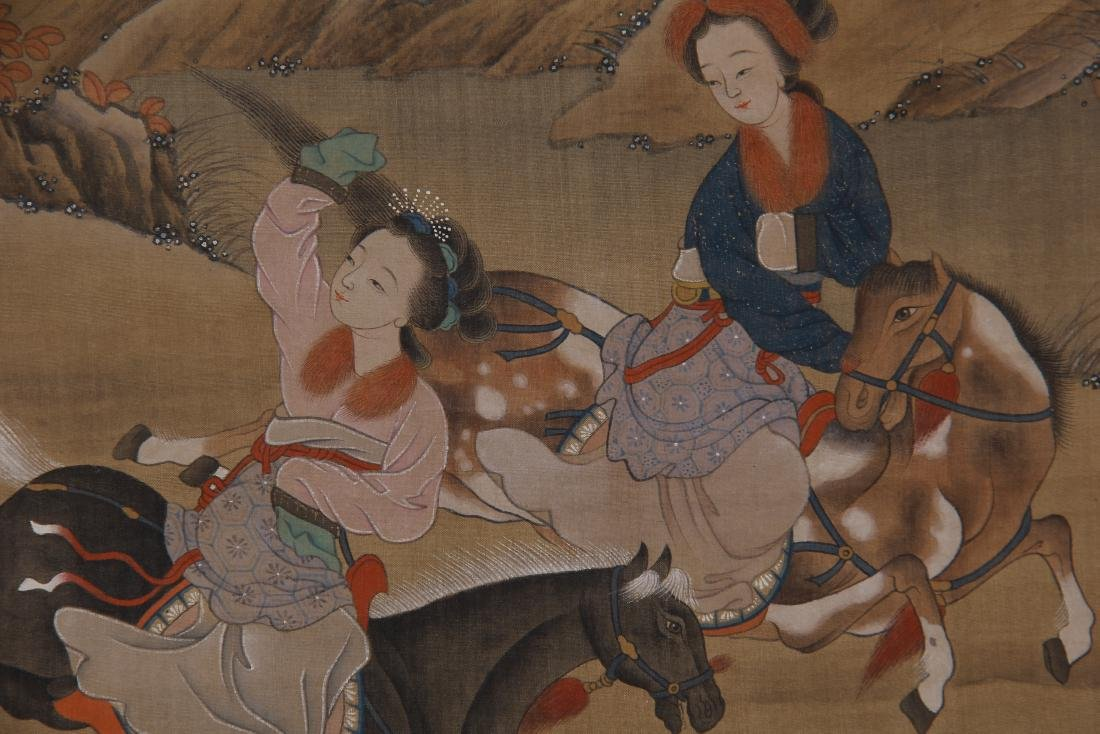 CHINESE PAINTING OF BEAUTIES HORSE RIDING - 6