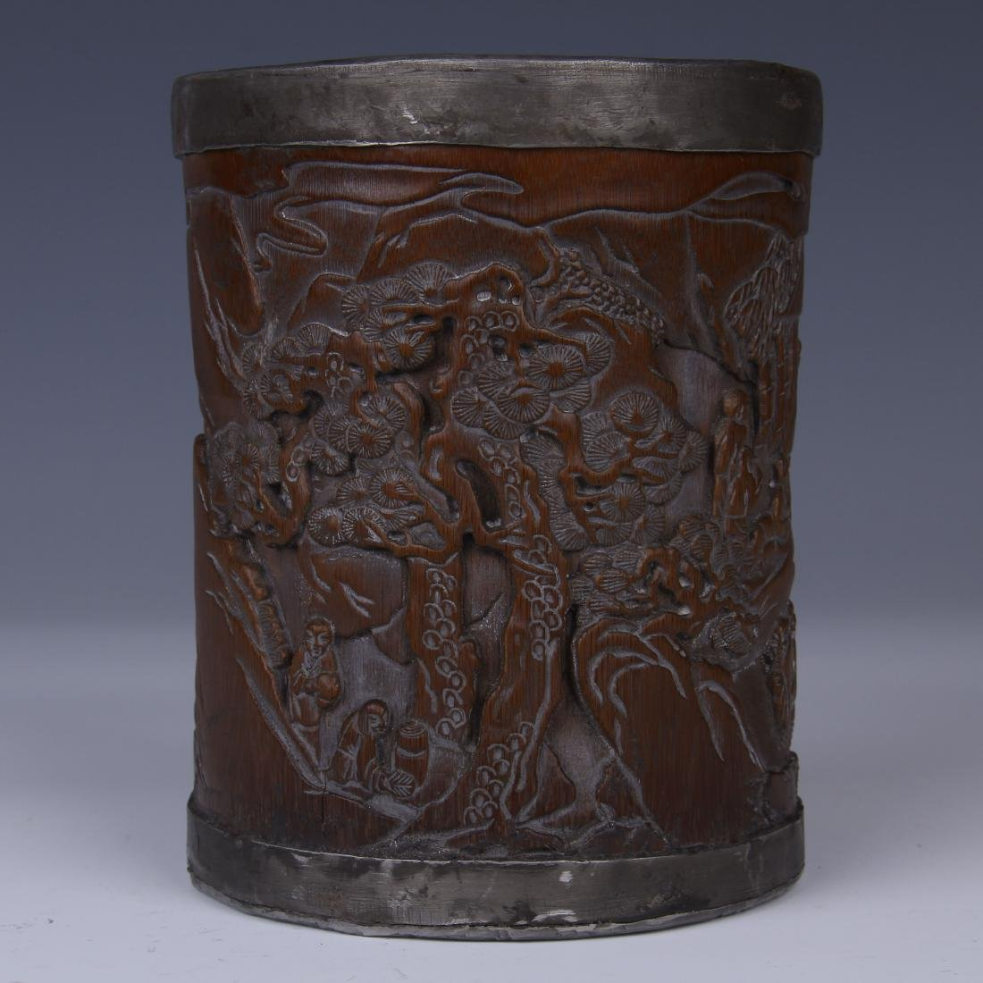 BAMBOO CARVED LANDSCAPE AND CHARACTER BRUSH POT