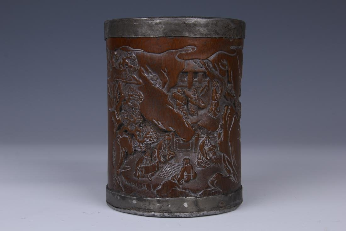 BAMBOO CARVED LANDSCAPE AND CHARACTER BRUSH POT - 2