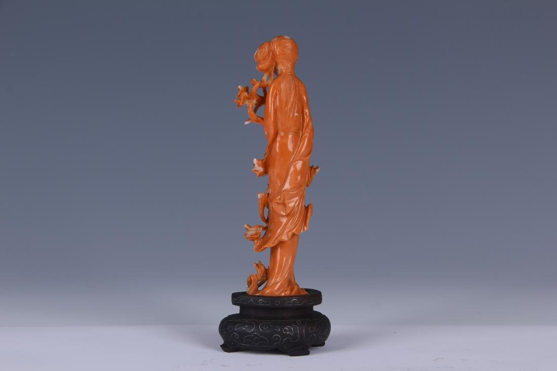 A RED CORAL CARVED BEAUTY STATUE/ WOODEN STAND - 2
