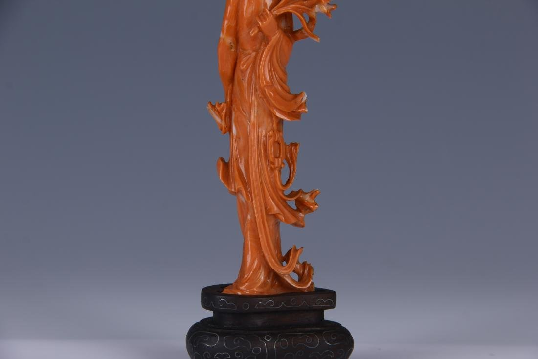 A RED CORAL CARVED BEAUTY STATUE/ WOODEN STAND - 5