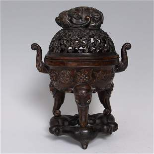 CHINESE EAGLEWOOD PIERCED INCENSE CENSER