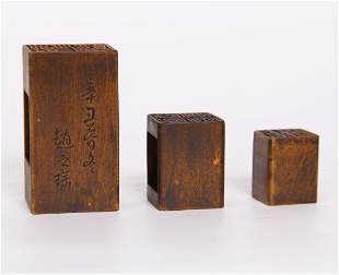 A SET OF THREE PIC HUANGYANG WOOD CARVED SEAL