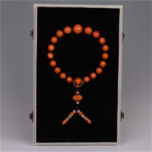 AN EXCELLENT PRAY CORAL BEADS HANDHELD