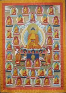 TIBETAN BUDDHIST SHAKYAMUNI THANGKA