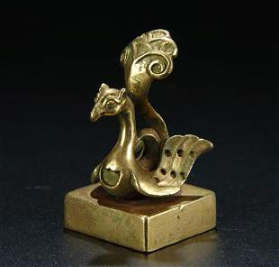 GILT BRONZE SEAL WITH KNOB IN SHAPE OF PHOENIX