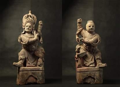 PAIR OF CHINESE WOOD SCULPTURES, GENERAL YANG
