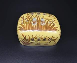 YELLOW LACQUERED CORN POPPY TRINKET BOX