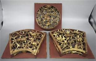 SET OF 3 PCS OPENWORK GOLD PAINTED WOOD CARVING
