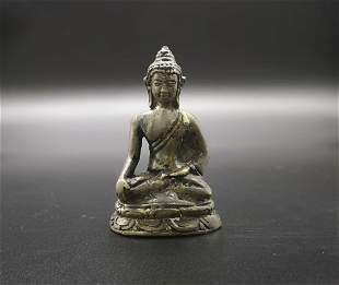 SILVER GILT BRONZE BUDDHA FIGURE STATUE