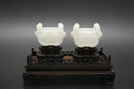 PAIR OF CARVED SEED JADE CENSER ORNAMENTS