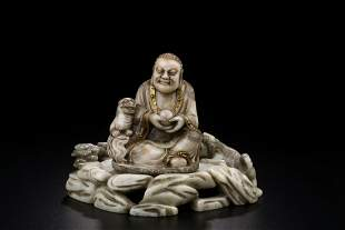 SHOUSHAN STONE CARVING OF ARHAT FIGURE STATUE