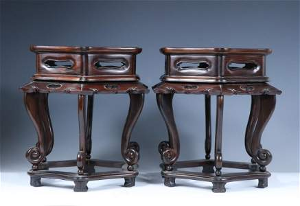 PAIR OF CHINESE ROSEWOOD TEA TABLES