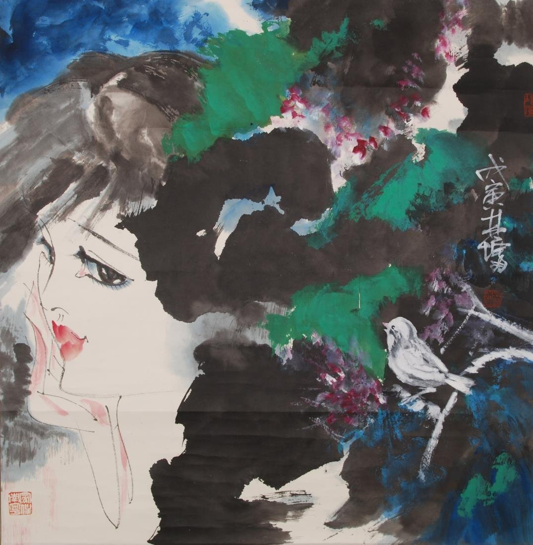 PAINTING OF FEMALE FIGURE AND BIRD, LIN YONG