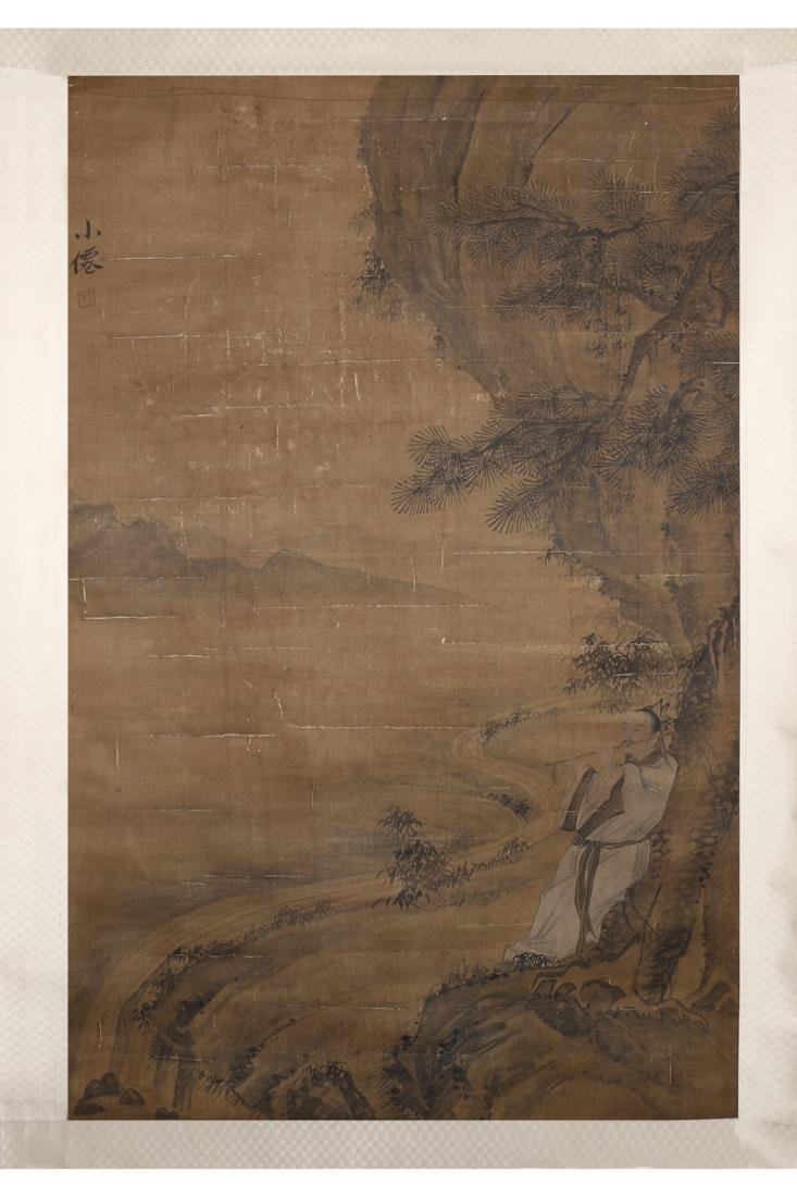 CHINESE PAINTING OF MAN PLAYING FLUTE, WU WEI