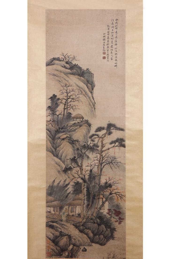 CHINESE PAINTING OF FIGURES IN LANDSCAPE