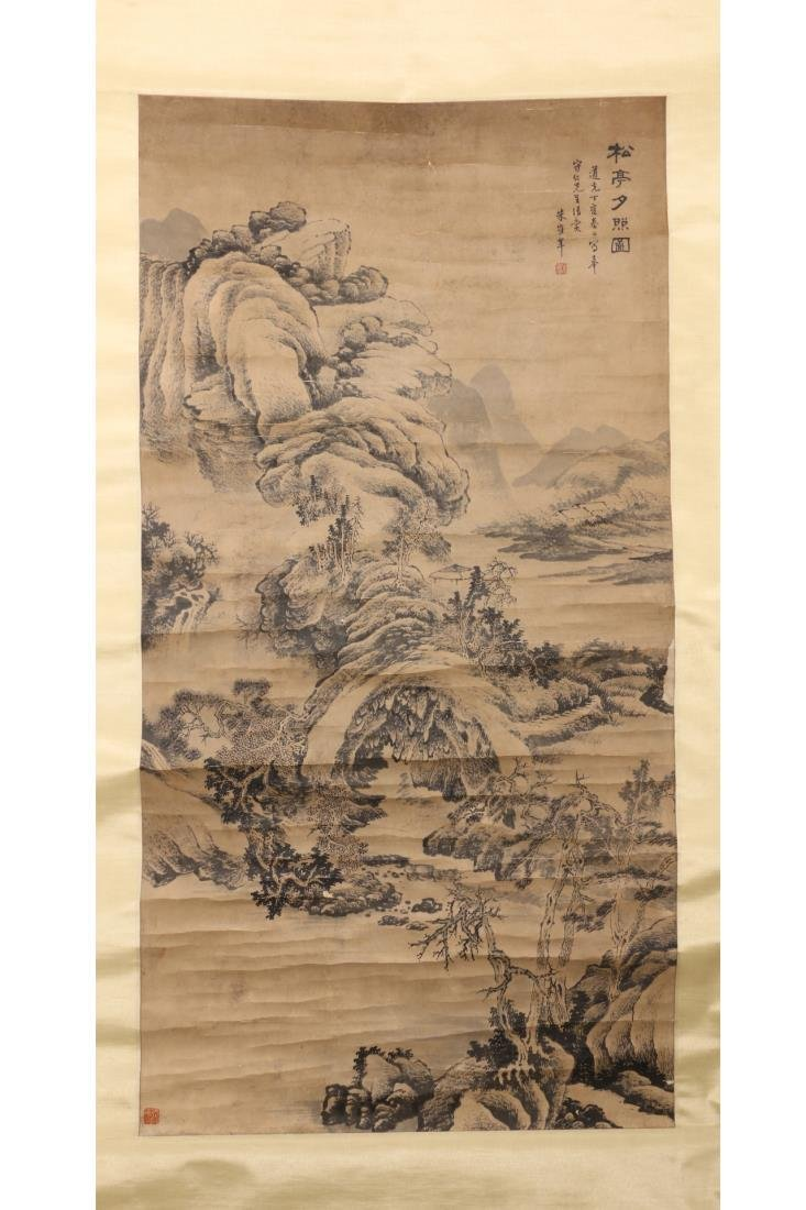 CHINESE SCROLL PAINTING OF SUN SET ON PAVILION
