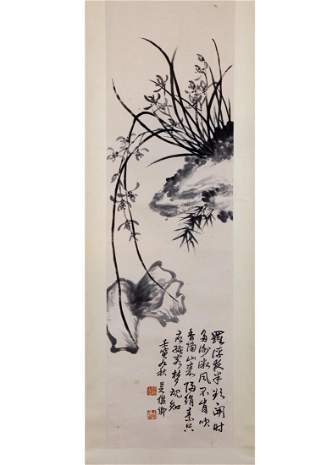CHINESE INK PAINTING OF FLOWER AND CALLIGRAPHY