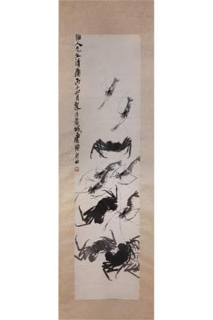 CHINESE INK PAINTING OF SHRIMP AND CRABS