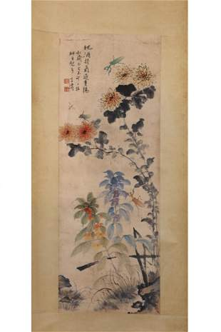 CHINESE PAINTING OF INSECTS AND FLOWERS
