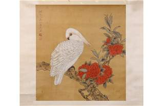 CHINESE PAINTING OF CROUCHING WHITE PARROT
