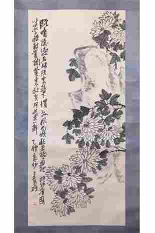 CHINESE PAINTING OF CHRYSANTHEMUM AND ROCK