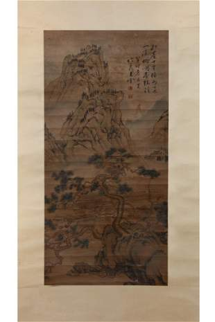 CHINESE PAINTING OF PINE TREE MOUNTAIN