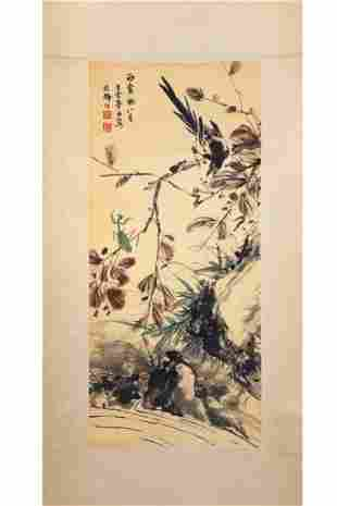 CHINESE PAINTING OF A BIRD AND A MANTIS