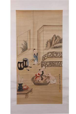 CHINESE PAINTING OF KIDS PLAYING WITH WATER