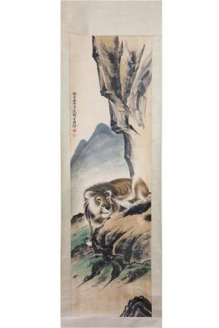 CHINESE PAINTING OF A LION CROUCHING ON A ROCK