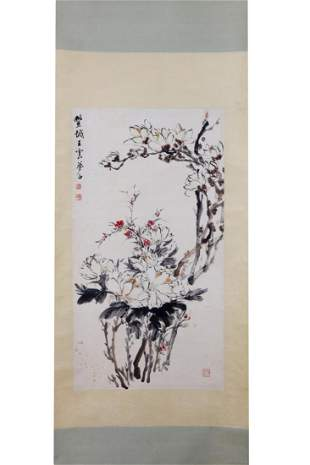 CHINESE INK AND COLOR PAINTING OF VARIOUS FLOWERS