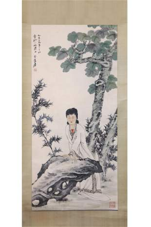 CHINESE PAINTING OF A WHITE DRESSED LADY