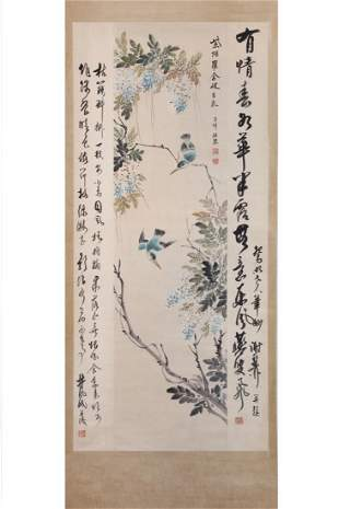 CHINESE PAINTING OF PERCHED BIRDS AND CALLIGRAPHY