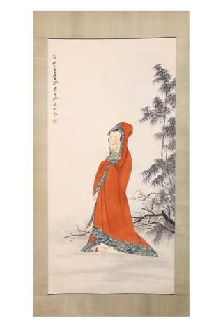 CHINESE PAINTING OF A LADY WITH RED CAPE